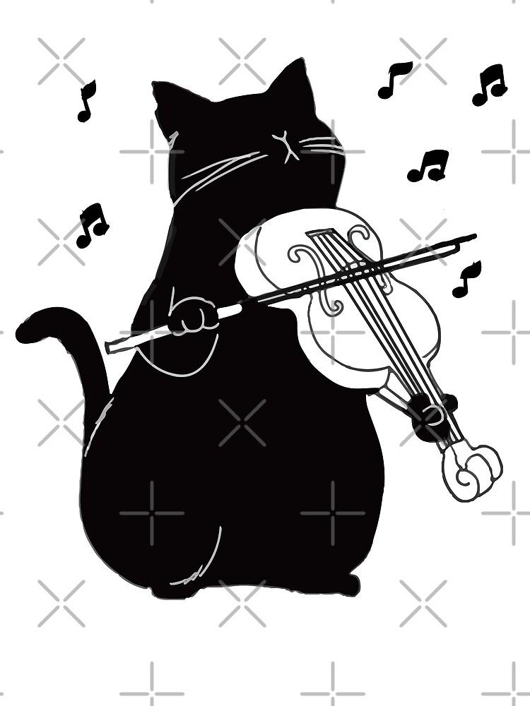 Schwarze Katze, die Violine lustiges Musiker-Geschenk spielt von JapaneseInkArt