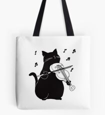 Black Cat Playing Violin Funny Musician Gift Tote Bag