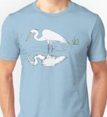 Wading Snowy Egret Reflection Unisex T-Shirt