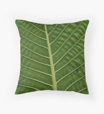 Green Tropical Rainforest Taro Leaf Veins Pattern Throw Pillow