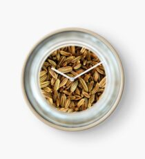 Aromatic Exotic Striped Indian Cuisine Fennel Seeds in Jar Clock