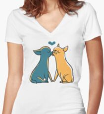 Chihuahua Kisses Women's Fitted V-Neck T-Shirt