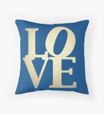 Love Lapis Blue and Gold Throw Pillow