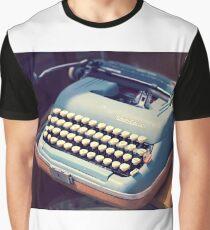 Vintage Baby Blue Typewriter Graphic T-Shirt