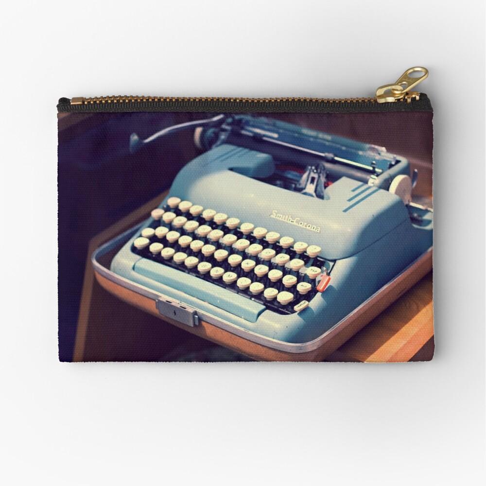 Vintage Baby Blue Typewriter Zipper Pouch