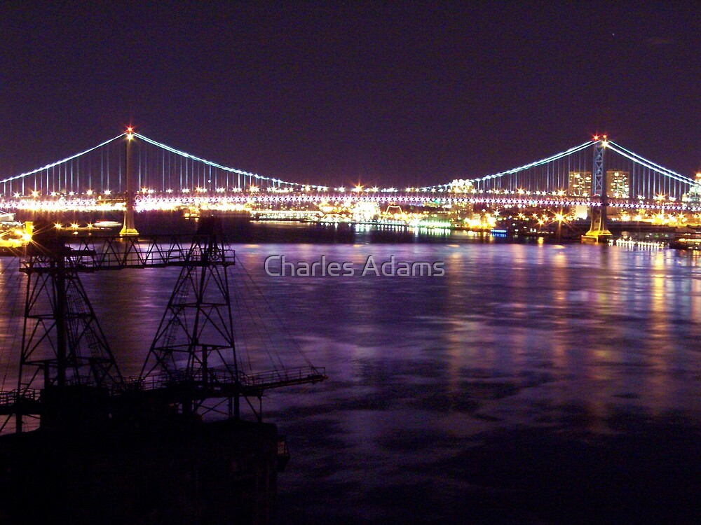 Ben Franklin Bridge (night) by Charles Adams