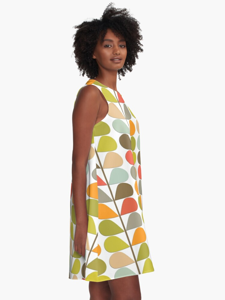 Alternate view of Retro 60s Midcentury Modern Pattern A-Line Dress