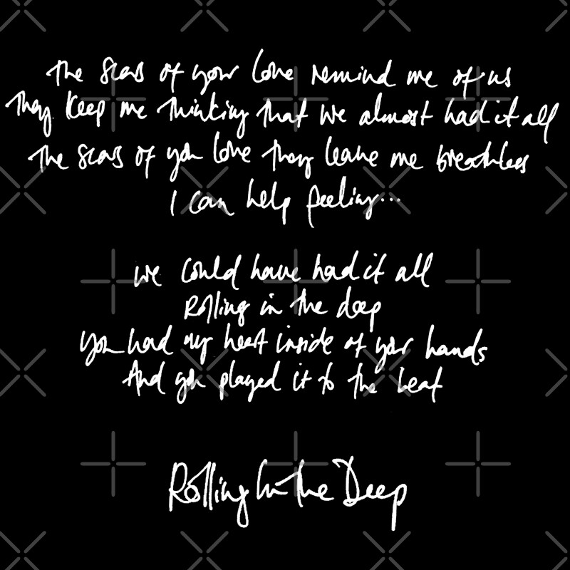 Rolling in the Deep Handwritten Lyrics