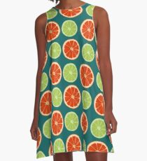 pattern with different slice citruses: grapefruit, lime A-Line Dress