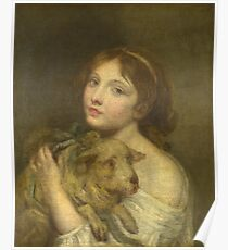 Jean-Baptiste Greuze - A Girl With A Lamb Poster