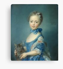 Jean-Baptiste Perronneau - A Girl With A Kitten Canvas Print
