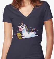 Unicorn Believe in Yourself Magically Fabulous II Women's Fitted V-Neck T-Shirt