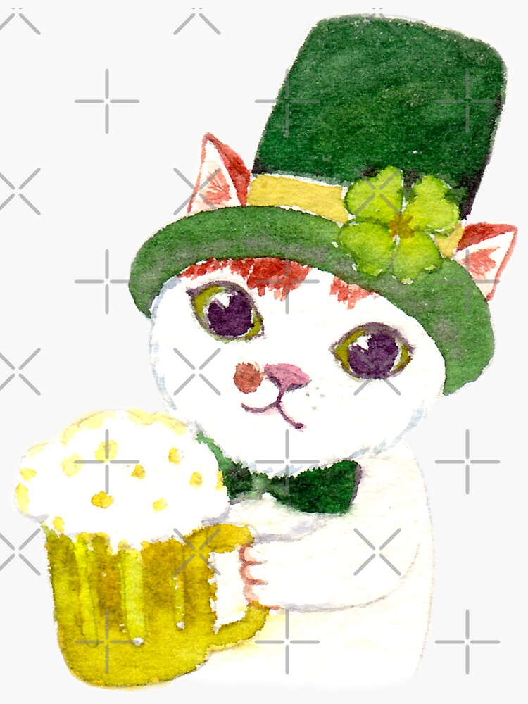 Tommy the Cat drinking beer on St Patrick's Day by whya
