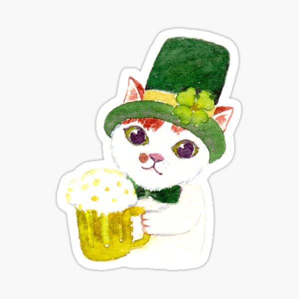 Tommy the Cat drinking beer on St Patrick's Day Sticker