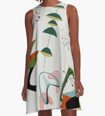 Retro Eames-Ära Atom inspiriert A-Linien Kleid