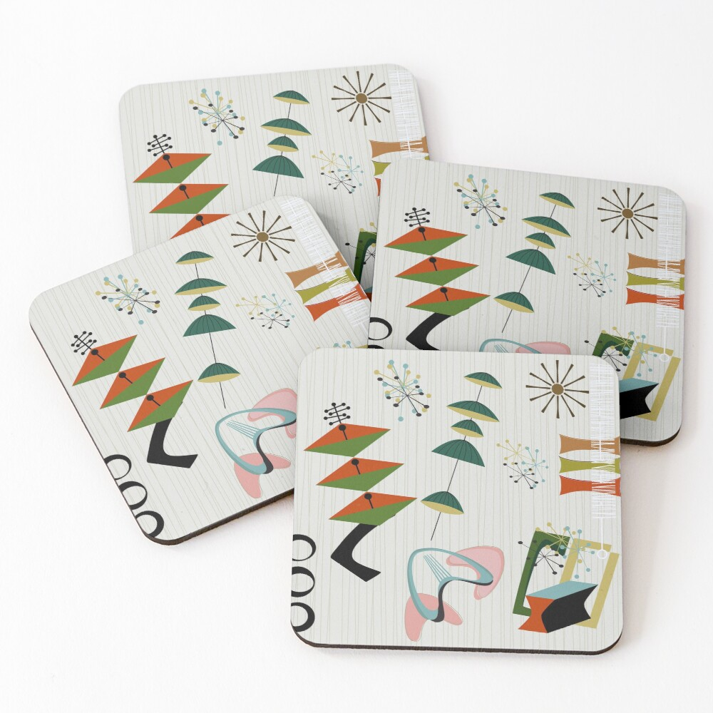 Retro Eames-Era Atomic Inspired Coasters (Set of 4)