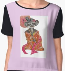 Sloth Geisha Illustration Chiffon Top