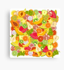 Bright summer pattern with fruits Canvas Print