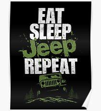 Essen Sie Schlaf Jeep wiederholen Poster