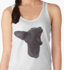 Illustration of a yawning sphinx cat Women's Tank Top