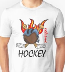 Hockey puck with flaming sticks behind Unisex T-Shirt