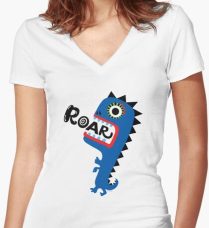 Roar Monster Women's Fitted V-Neck T-Shirt