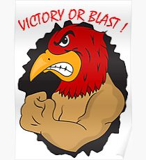 Angry muscle bird showing fist Poster