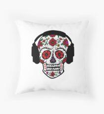 Sugar Skull with Headphones Throw Pillow