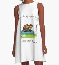 Turtle in a leaking pool A-Line Dress
