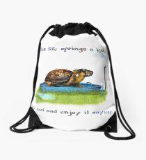 Turtle in a leaking pool Drawstring Bag