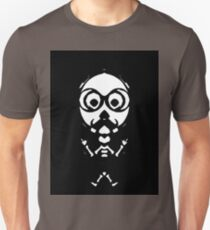 old skinny skull and bone with glasses in black and white Unisex T-Shirt