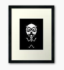 old skinny skull and bone with glasses in black and white Framed Print