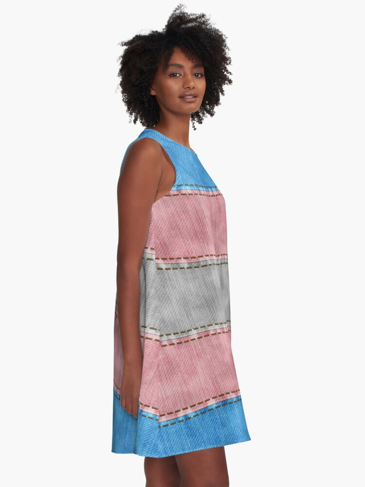 Alternate view of Transgender Denim Flag A-Line Dress