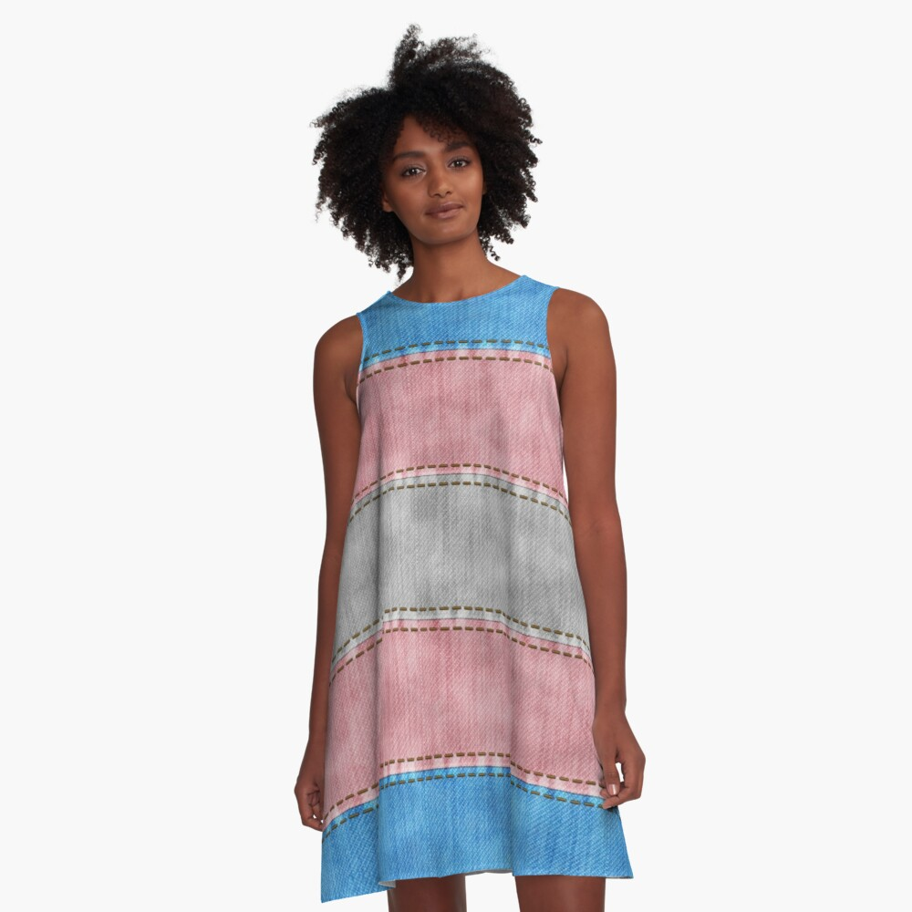 Transgender Denim Flag A-Line Dress