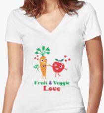 Fruit and Veggie Love Women's Fitted V-Neck T-Shirt