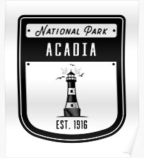 Acadia National Park Lighthouse Badge Poster