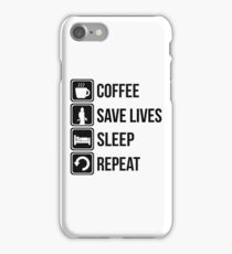 Funny Fire Fighter Coffee Save Lives Sleep Repeat iPhone Case/Skin