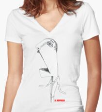No Hands Women's Fitted V-Neck T-Shirt