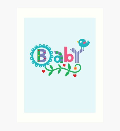 Baby and Bird - on lights Art Print