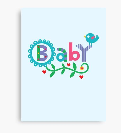 Baby and Bird - on lights Canvas Print