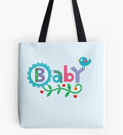 Baby and Bird - on lights Tote Bag