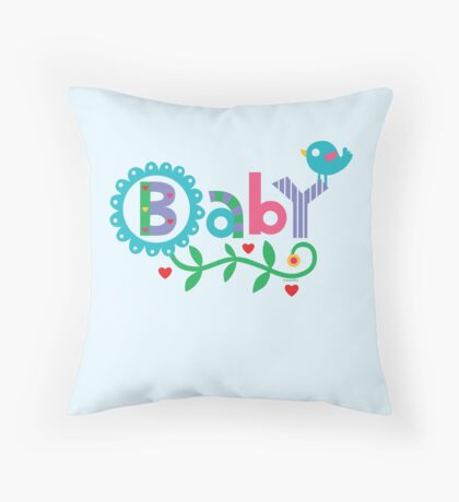 Baby and Bird - on lights Throw Pillow