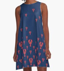 Lobster Squadron on navy  A-Line Dress