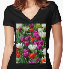 Colorful Flowers in a field Women's Fitted V-Neck T-Shirt