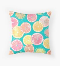 Juicy Grapefruit Slices Throw Pillow
