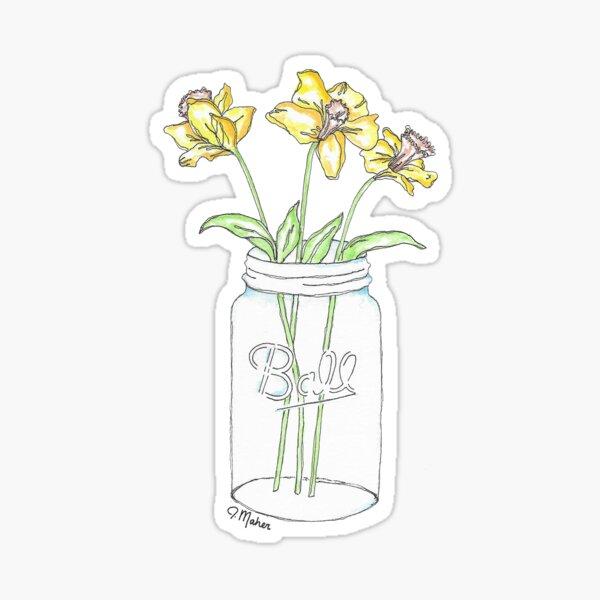 Mason Jar Daffodil Flowers Sticker