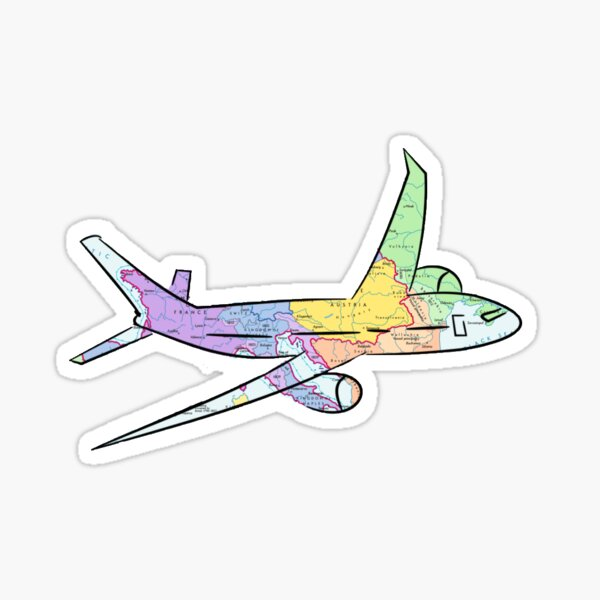 Airplane Map Sticker
