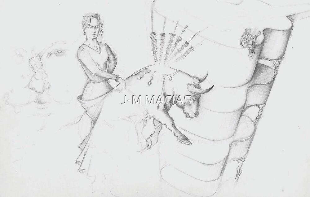 hommage a un toro qui va mourir..(project painting) by J-M MACIAS