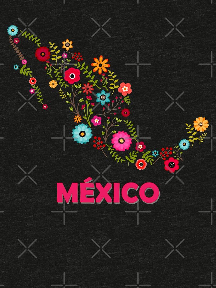 Mexico map flowers de myrgomez