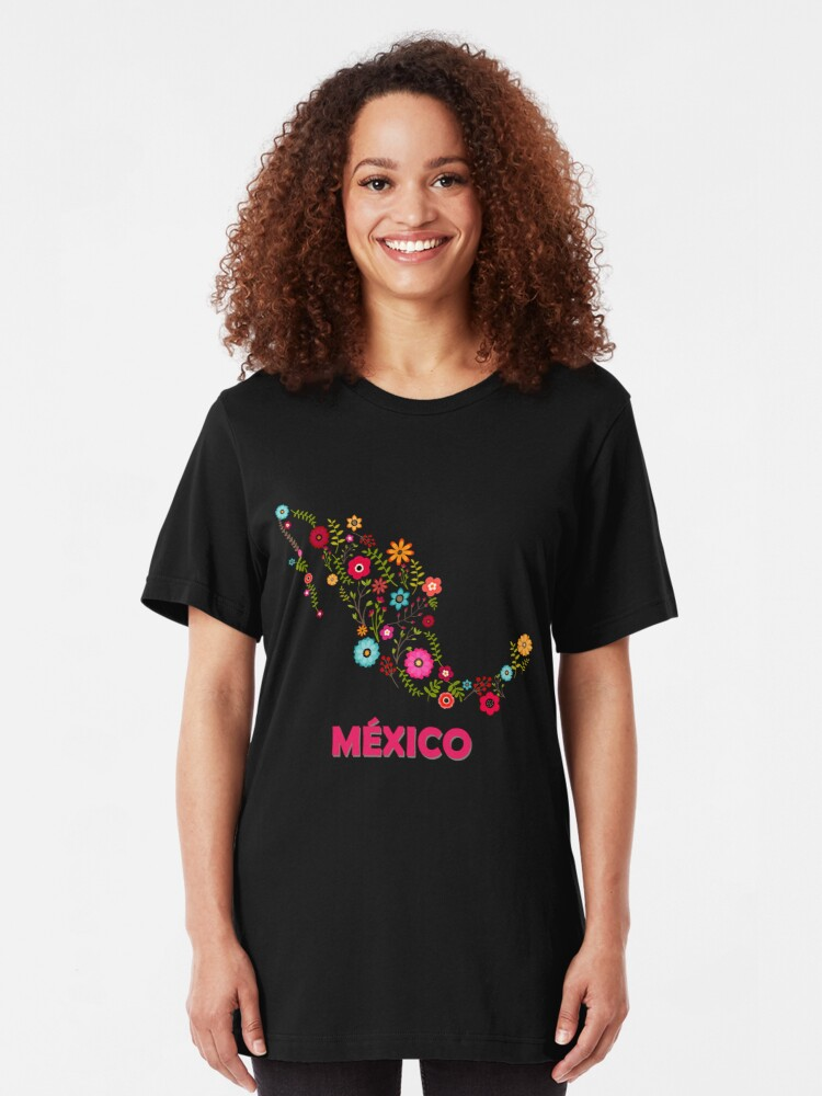Vista alternativa de Camiseta ajustada Mexico map flowers
